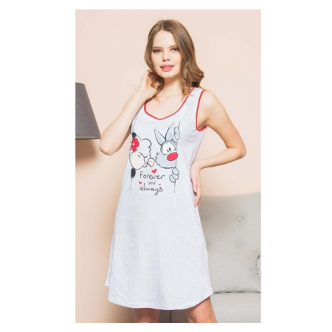 Dámská noční košile na ramínka Good night, XL, světle šedá Vienetta Secret