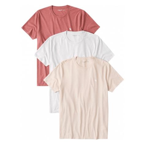 Abercrombie & Fitch Tričko červená / bílá / béžová