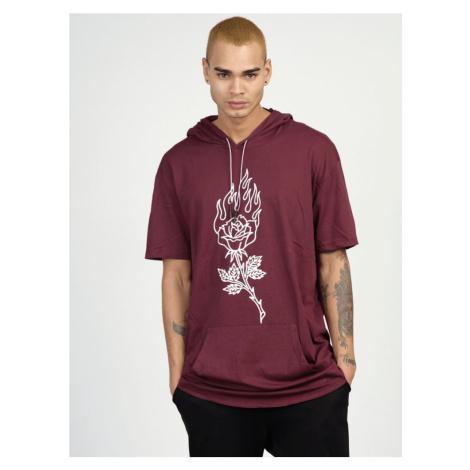 Bordó tričko s kapucí MR/21553