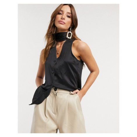 Closet sleeveless pussy bow blouse in black