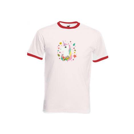Pánské tričko s kontrastními lemy Pohádkový jednorožec