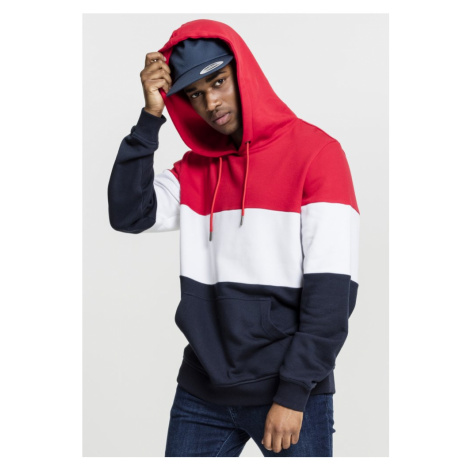3-Tone Hoody - fire red/white/navy