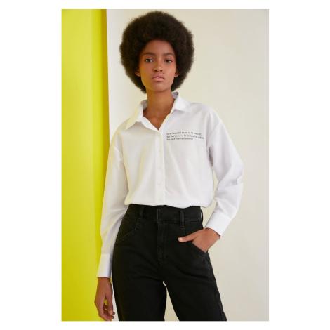 Trendyol White Printed Shirt