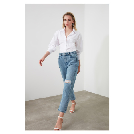 Trendyol Blue Ripped High Waist Straight Jeans