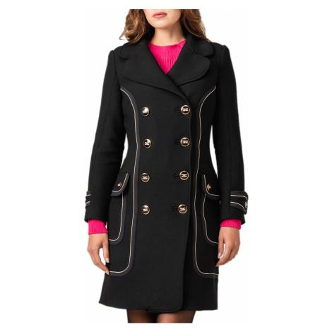Černý kabát s příměsí vlny ELISABETTA FRANCHI