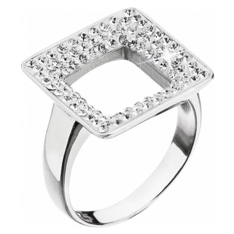 Evolution Group Stříbrný prsten s krystaly Swarovski bílý čtverec 35059.1