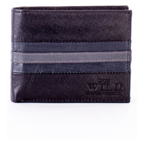 Black and blue leather wallet with embossing Fashionhunters