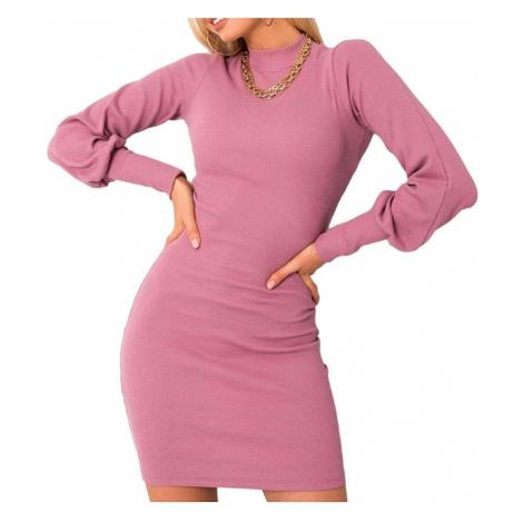 Růžové šaty s balonovými rukávy Rue Paris