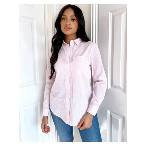 New Look pocket detail striped shirt in pink