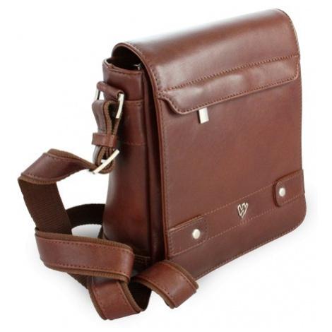 Hnědý pánský kožený crossbag s klopnou Callum Arwel
