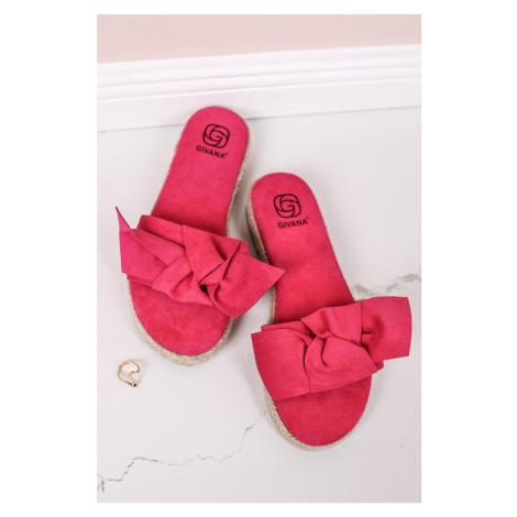 Fuchsiové semišové nízké pantofle Celyse Givana