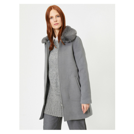 Koton Women's Gray Faux Fur Detailed Coat