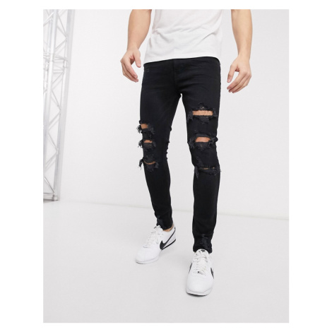 Bershka super skinny jeans with rips in black