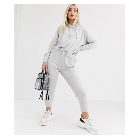 ASOS DESIGN tracksuit hoodie / slim jogger with tie-Grey
