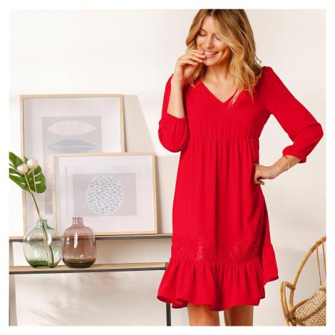 Blancheporte Jednobarevné šaty se šněrováním vzadu červená