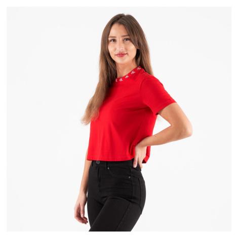 Calvin Klein Calvin Klein dámské červené tričko CK LOGO TRIM SS TEE