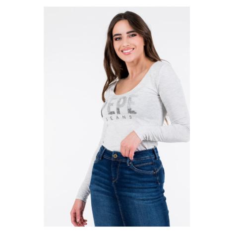 Pepe Jeans dámské šedé tričko s kamínky Cora