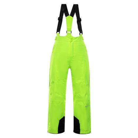 ALPINE PRO ANIKO 3 Dětské lyžařské kalhoty KPAP168530 reflexní žlutá