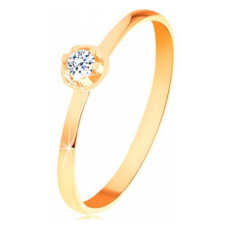 Prsten ve žlutém 14K zlatě - čirý diamant ve vyvýšeném kulatém kotlíku Šperky eshop