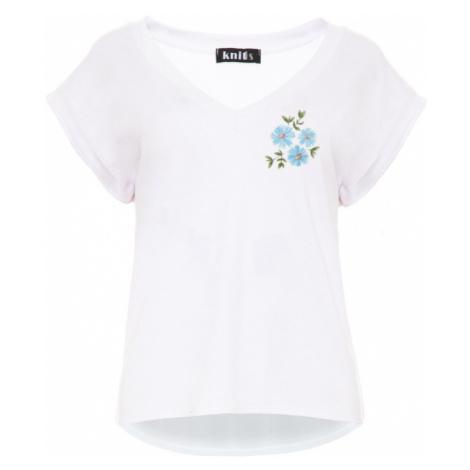 Dámské bílé tričko s drobným květinovým potiskem K389
