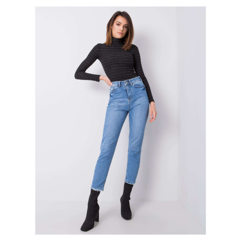 RUE PARIS Modré dámské džíny s vysokým pasem FPrice