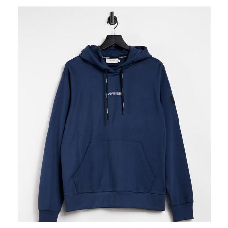 Calvin Klein exclusive to Asos reversed center logo hoodie in dark ocean-Blue
