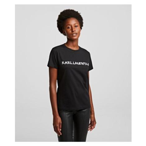 Tričko Karl Lagerfeld Graffiti Logo T-Shirt - Černá