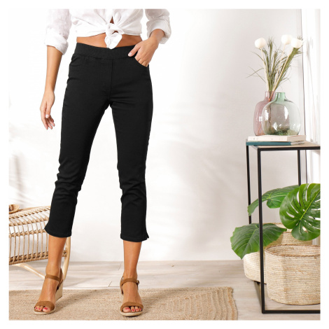 Blancheporte 3/4 plátěné kalhoty s pružným pasem černá