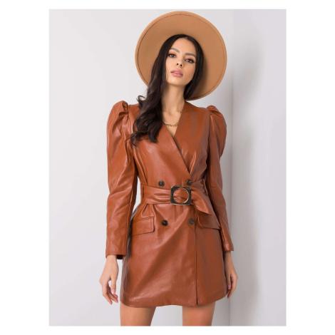 Hnědé šaty s nařasenými rukávy EM-SK-B323.28P-brown BASIC