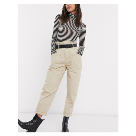 Bershka relaxed paperbag trousers with belt in sand-Brown