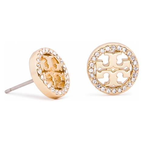Naušnice TORY BURCH - Crystal Logo Circle Stud Earring 53422 Tory Gold/Crystal 783