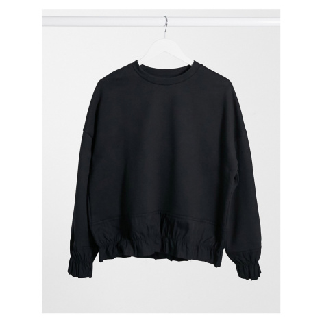 Selected Femme frill detail sweatshirt co ord in black