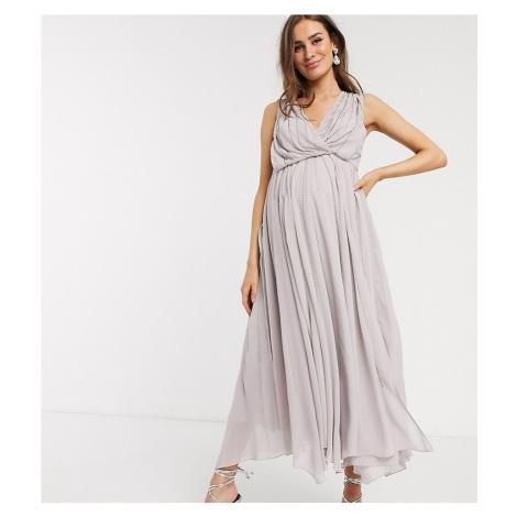 ASOS DESIGN Maternity drape bodice midaxi dress embellished-Grey