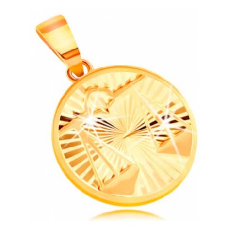 Zlatý 14K přívěsek - paprskovitě uspořádané zářezy, znamení VÁHY