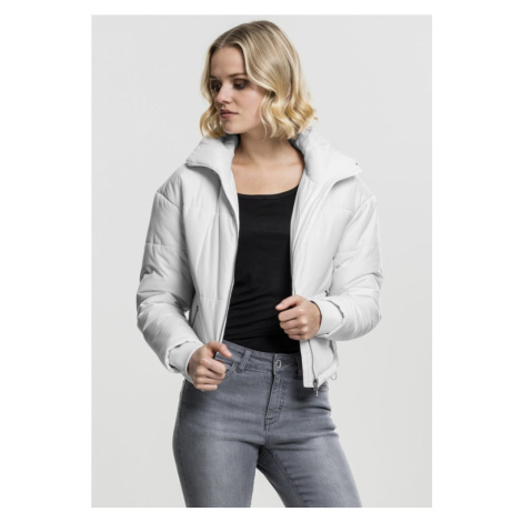 Ladies Oversized High Neck Jacket - white Urban Classics