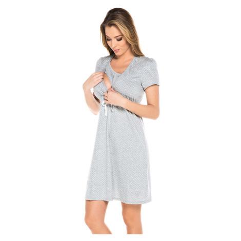 Bavlněná těhotenská noční košile Alena šedá Italian Fashion