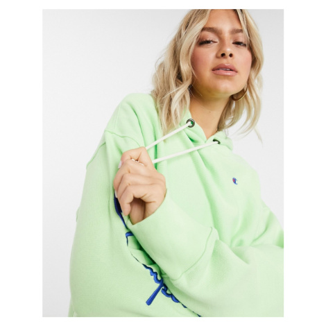 Champion sleeve logo hoodie-Green
