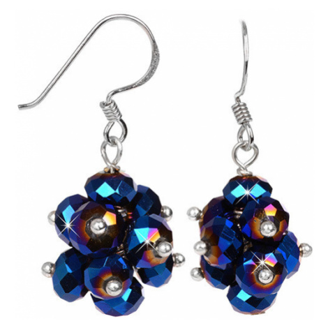 JwL Luxury Pearls Zářivé náušnice z broušených tmavě modrých krystalů JL0270