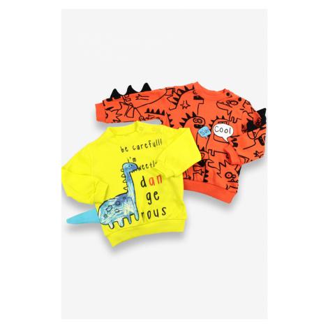 Chlapecké mikiny Dinosaur 2-pack, oranžová, žlutá