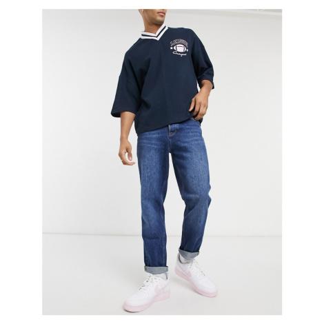 ASOS DESIGN straight crop jeans in dark wash blue