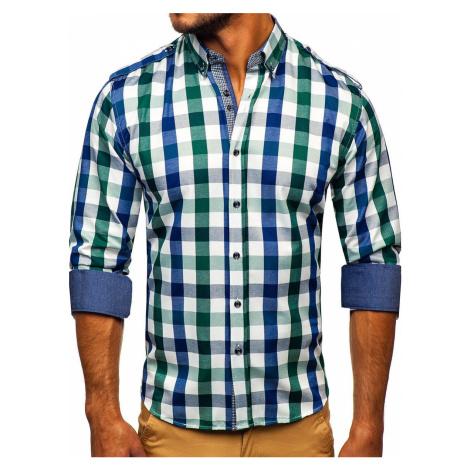 Zelená pánská kostkovaná košile s dlouhým rukávem Bolf 2779