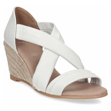 Bílé kožené sandály na klínku Baťa
