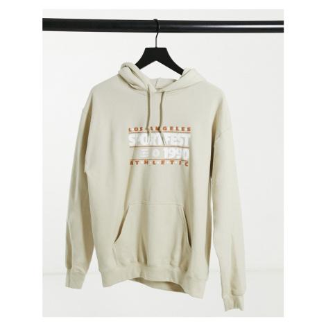 Daisy Street oversized hoodie with vintage sportfest print-Beige