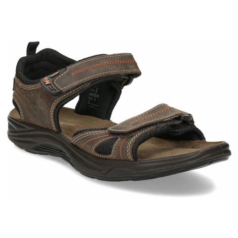 Hnědé pánské sandály z broušené kůže Weinbrenner