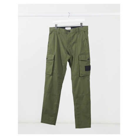 Calvin Klein Jeans skinny washed cargo trousers in khaki-Green