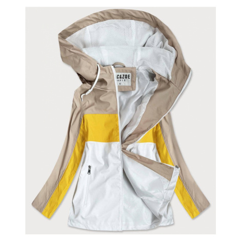 Béžovo-žlutá dámská bunda větrovka s kapucí (YR1968)