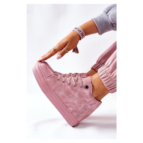 Leather Wedge Sneakers Big Star II274092 Pink Kesi