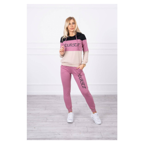 Set with print Yourself black+dark pink Kesi