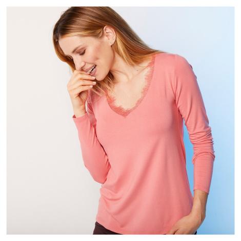 """Blancheporte Jednobarevné tričko s výstřihem do """"V"""" a krajkou korálová"""