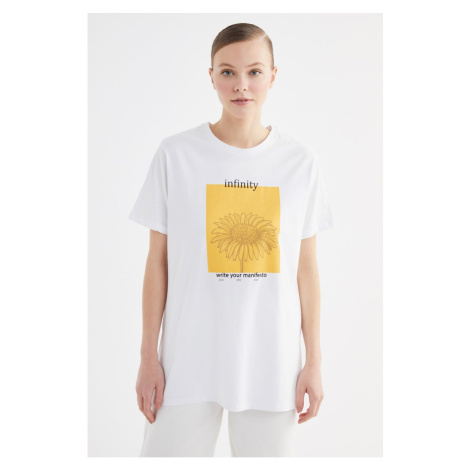 Trendyol White Printed Knitted T-Shirt-Tunic